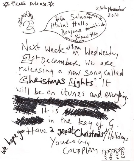 Coldplay's Christmas Lights Press Release